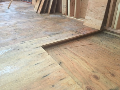 """Rough framing of a curbless shower, Rough framing of a """"no curb"""" shower"""