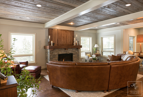 barn wood ceiling with box beams