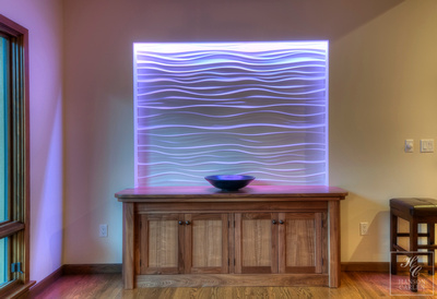 Custom designed buffet with lighted accent wall