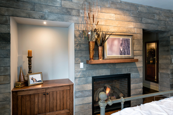 rustic wood accent wall in master bedroom