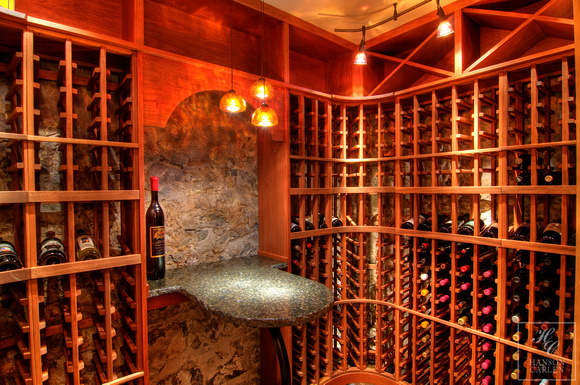 Rustic Rock Walled Wine Cellar