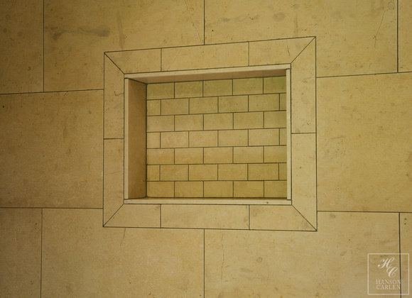 LIMESTONE TILE SHOWER NICHE