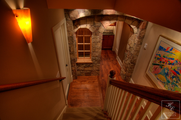 climatic stairway to rustic stone wine cellar