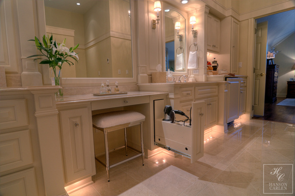 Hanson Carlen Architects Spokane Traditional Make Up Vanity With Custom Pull Out Hair Dryer